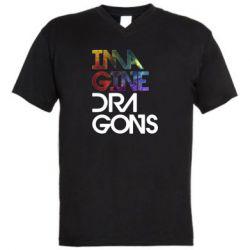 Чоловіча футболка з V-подібним вирізом Imagine Dragons and space
