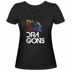 Жіноча футболка з V-подібним вирізом Imagine Dragons and space