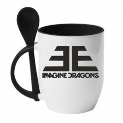 Кружка с керамической ложкой Imagine Dragons Evolve simbol
