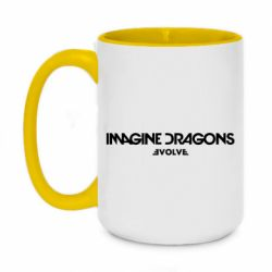 Кружка двоколірна 420ml Imagine dragons: Evolve text logo - FatLine