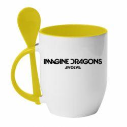 Кружка с керамической ложкой Imagine dragons: Evolve text logo