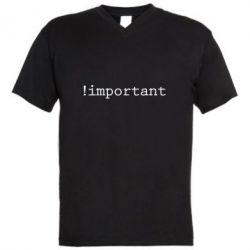 Мужская футболка  с V-образным вырезом !important - FatLine