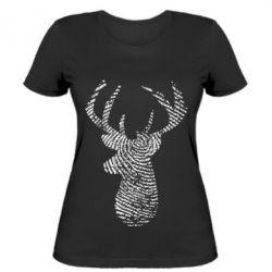 Жіноча футболка Imprint of human skin in the form of a deer