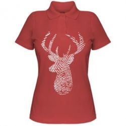 Жіноча футболка поло Imprint of human skin in the form of a deer