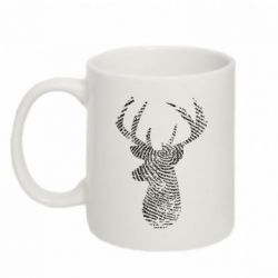 Кружка 320ml Imprint of human skin in the form of a deer