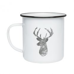 Кружка емальована Imprint of human skin in the form of a deer