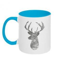 Кружка двоколірна 320ml Imprint of human skin in the form of a deer