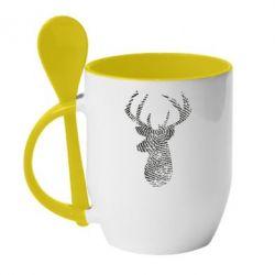 Кружка з керамічною ложкою Imprint of human skin in the form of a deer