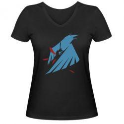 Женская футболка с V-образным вырезом Infamous: Second Son - Karmic titles two blue