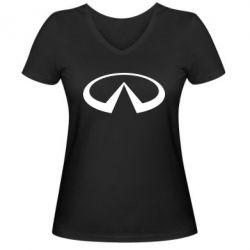 Женская футболка с V-образным вырезом Infiniti logo