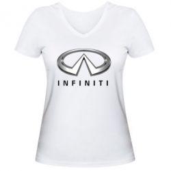 Женская футболка с V-образным вырезом Infinity Logo 3D - FatLine