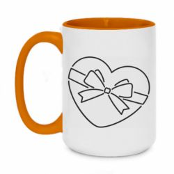 Кружка двоколірна 420ml Heart with a bow