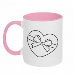 Кружка двоколірна 320ml Heart with a bow