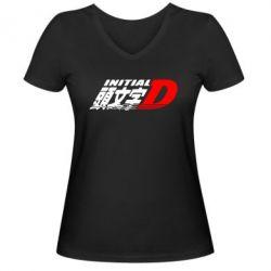 Женская футболка с V-образным вырезом Initial d fifth stage - FatLine