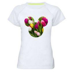 Жіноча спортивна футболка Inner world flowers mickey mouse