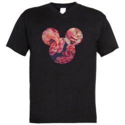 Чоловіча футболка з V-подібним вирізом Inner world flowers mickey mouse