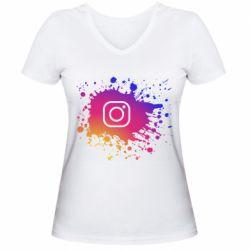 Женская футболка с V-образным вырезом Instagram spray