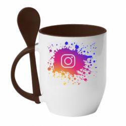 Кружка с керамической ложкой Instagram spray