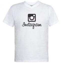 Мужская футболка  с V-образным вырезом Instagram