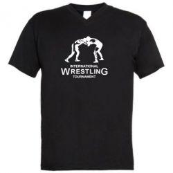 Мужская футболка  с V-образным вырезом International Wrestling Tournament - FatLine