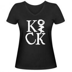 Женская футболка с V-образным вырезом Invincible tricking - FatLine
