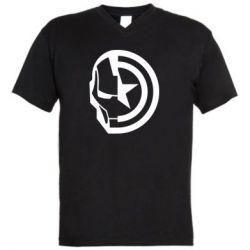 Чоловіча футболка з V-подібним вирізом Iron Man and Captain America