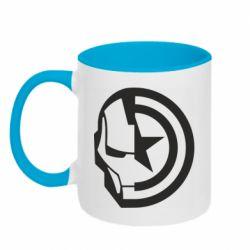 Кружка двоколірна 320ml Iron Man and Captain America