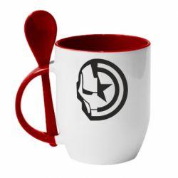 Кружка з керамічною ложкою Iron Man and Captain America
