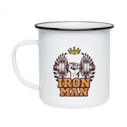 Кружка емальована Iron man and sports