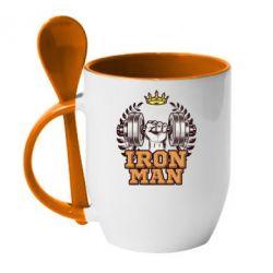 Кружка з керамічною ложкою Iron man and sports