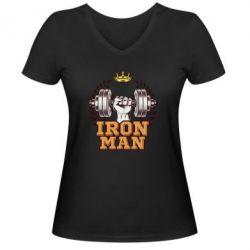 Жіноча футболка з V-подібним вирізом Iron man and sports