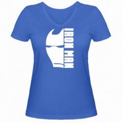 Жіноча футболка з V-подібним вирізом Iron Man face and logo