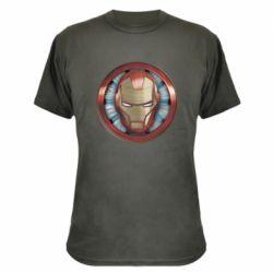Камуфляжна футболка Iron man helmet wood texture