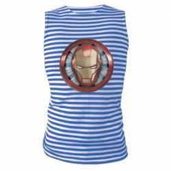 Майка-тільняшка Iron man helmet wood texture