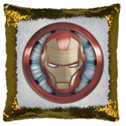 Подушка-хамелеон Iron man helmet wood texture