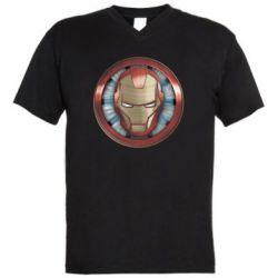 Чоловіча футболка з V-подібним вирізом Iron man helmet wood texture