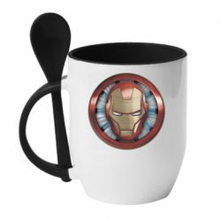 Кружка з керамічною ложкою Iron man helmet wood texture