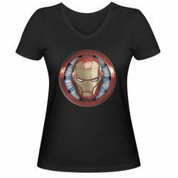 Жіноча футболка з V-подібним вирізом Iron man helmet wood texture