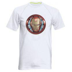 Чоловіча спортивна футболка Iron man helmet wood texture