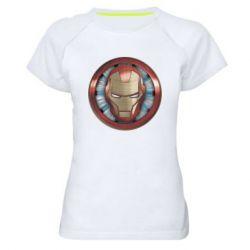 Жіноча спортивна футболка Iron man helmet wood texture