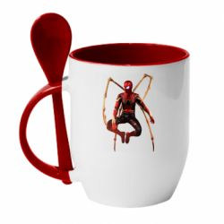 Кружка з керамічною ложкою Iron man spider