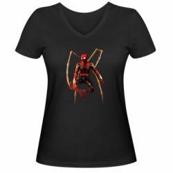 Жіноча футболка з V-подібним вирізом Iron man spider