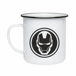 Кружка емальована Iron man symbol