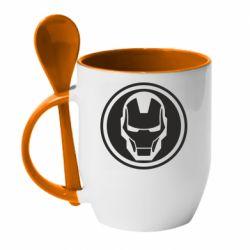 Кружка з керамічною ложкою Iron man symbol