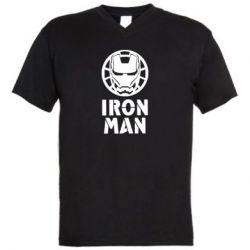Чоловіча футболка з V-подібним вирізом Iron man text