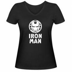 Жіноча футболка з V-подібним вирізом Iron man text