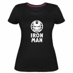 Жіноча стрейчева футболка Iron man text