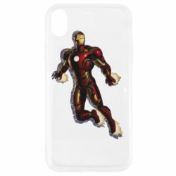 Чехол для iPhone XR Iron man with the shadow of the lines