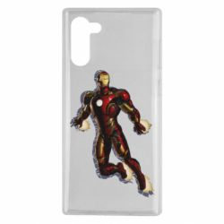 Чехол для Samsung Note 10 Iron man with the shadow of the lines