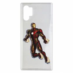 Чехол для Samsung Note 10 Plus Iron man with the shadow of the lines